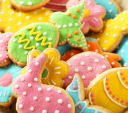 Colorful easter cookies in basket
